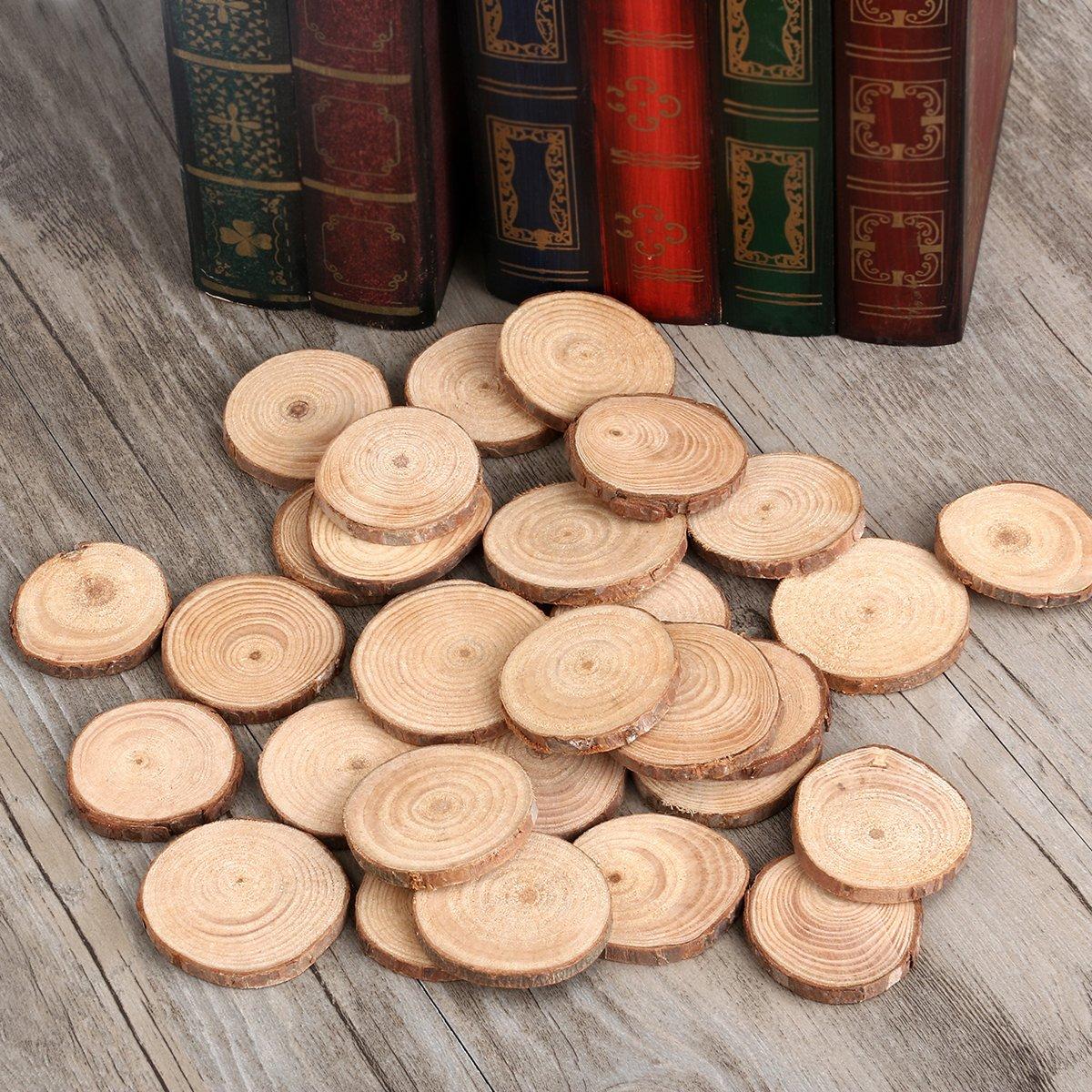 /5/cm bestoyard redondos de madera 30/piezas rodajas de madera discos c/írculos para manualidades DIY boda mesa 4/