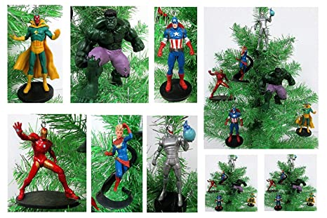 "AVENGERS Super Hero Christmas Tree Ornament Set - 4.5"" Plastic  Shatterproof Ornaments - Amazon.com: AVENGERS Super Hero Christmas Tree Ornament Set - 4.5"