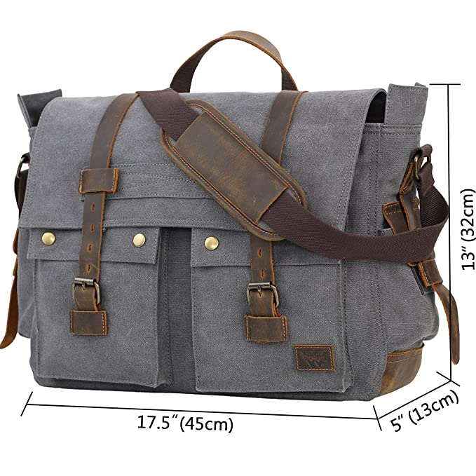 Amazon.com  WOWBOX Messenger Bag for Men 17.3 inch Canvas Laptop Bag  Bookbag Working Bag for Business School Gray  Computers   Accessories 8ae6450d79