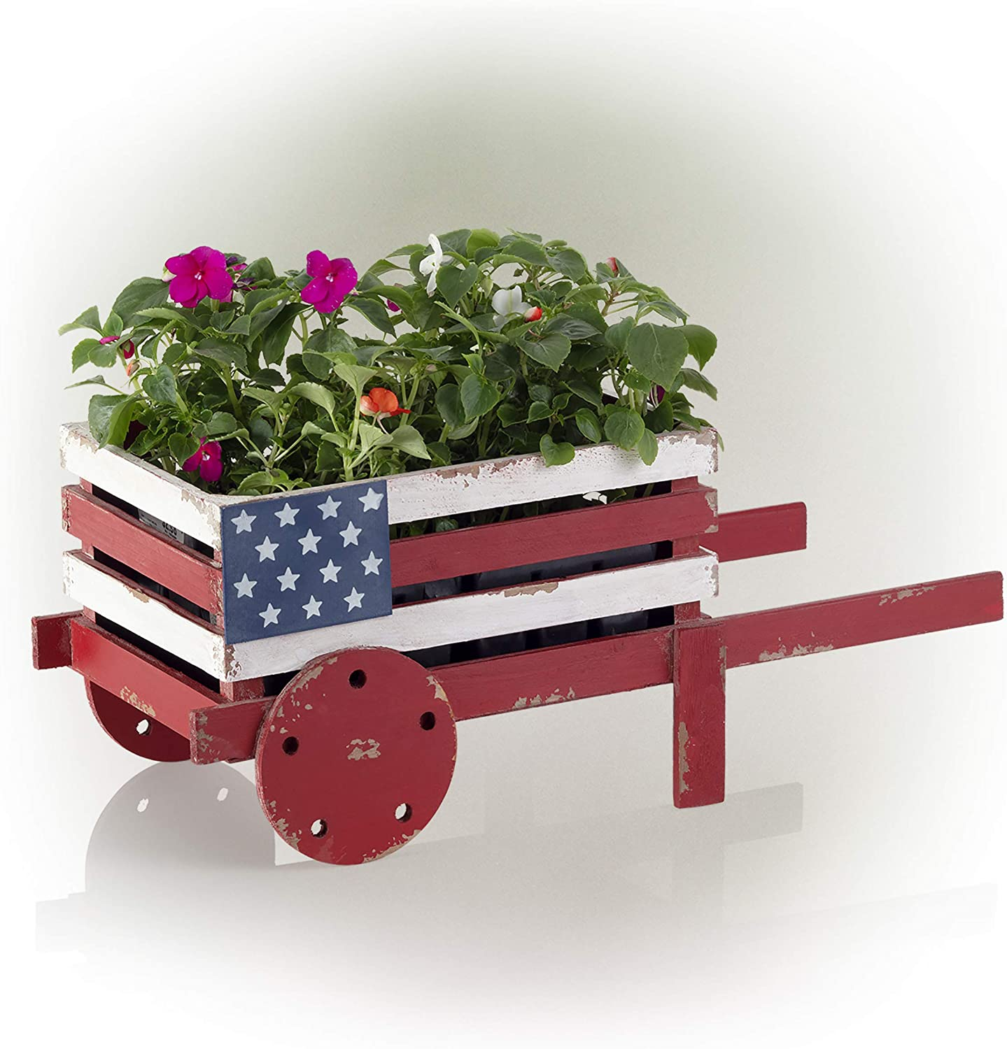 "Alpine Corporation BKY100HH American Flag Wooden Wheel Barrel Planter, 9 Inch Tall, 9"", Red, White & Blue"