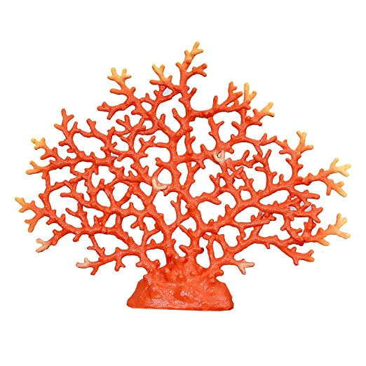 Christmas Tablescape Decor - Faux red spongy sea fan coral tabletop decoration