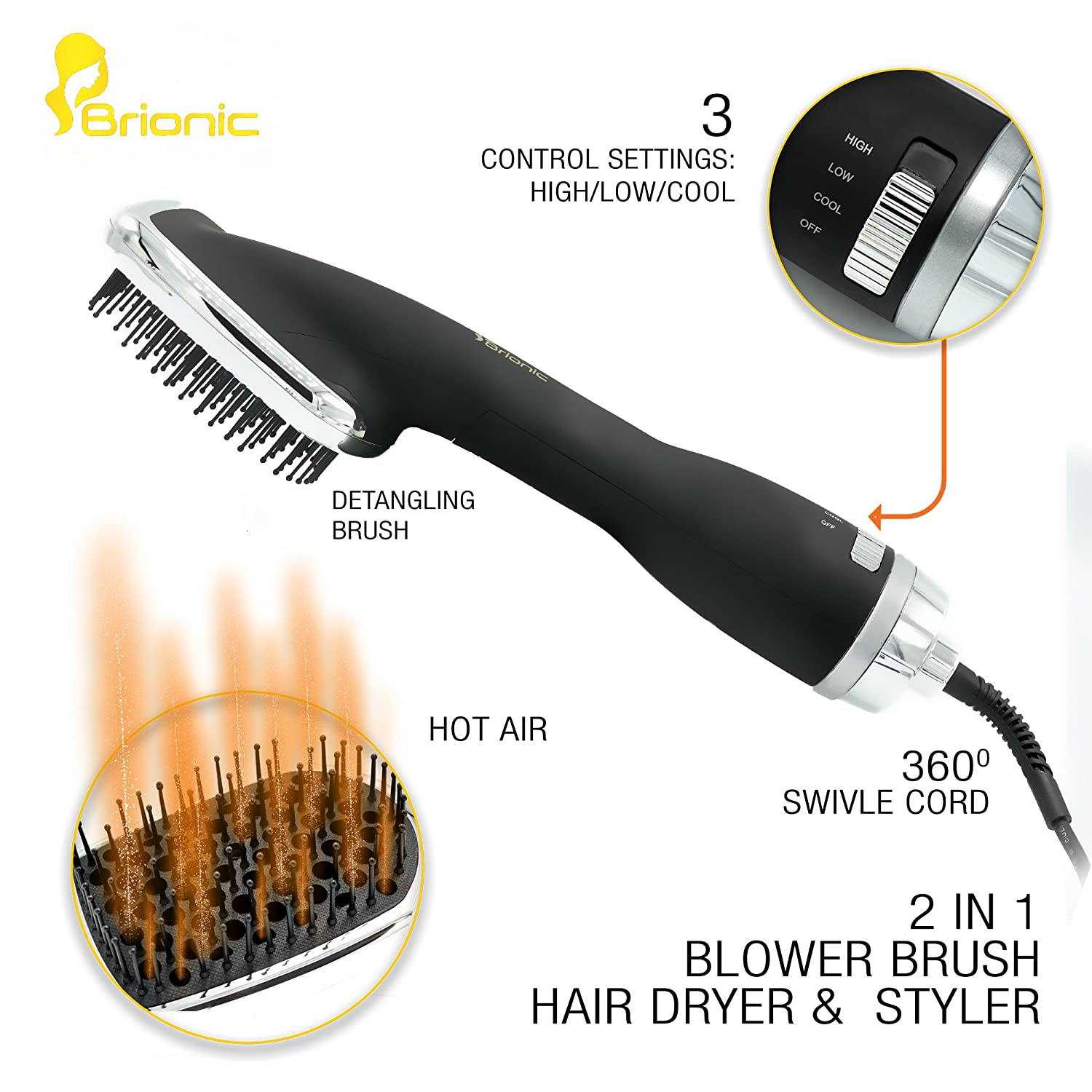 One-Step Hair Dryer & Styler Brionic Tourmaline/Ceramic/Ionic | Professional Anti-Static Hair Blower for Quick Hair Drying & Protection