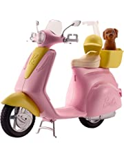 Barbie FRP56 ESTATE Mo-Ped Motorbike for Doll, Pink Scooter, Vehicle, Multi-Colour