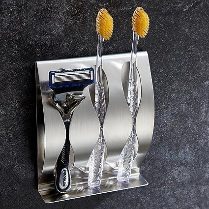 Soporte para cepillo de dientesy cuchilla de afeitar de acero inoxidable con autoadhesivo para