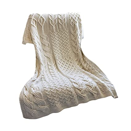 Amazon Aran Woollen Mills Patchwork SuperSoft Merino Wool Knit Enchanting Aran Throw Blanket