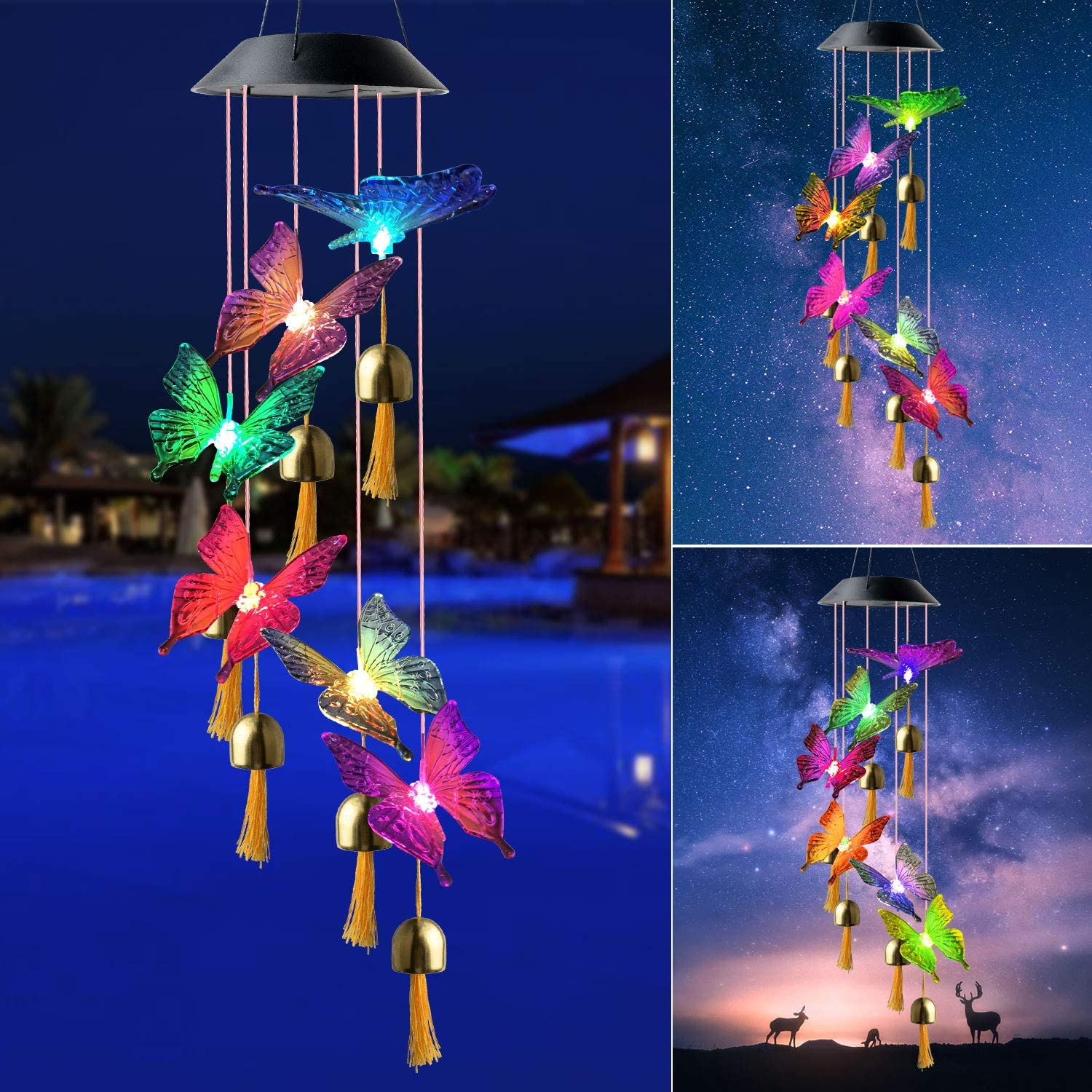 zhengshizuo Butterfly Wind Chimes Butterfly Gifts Solar Butterfly Lights Outdoor Solar Hanging Lights Gardening Gifts Gifts for mom Garden Decor Solar Butterfly Gifts