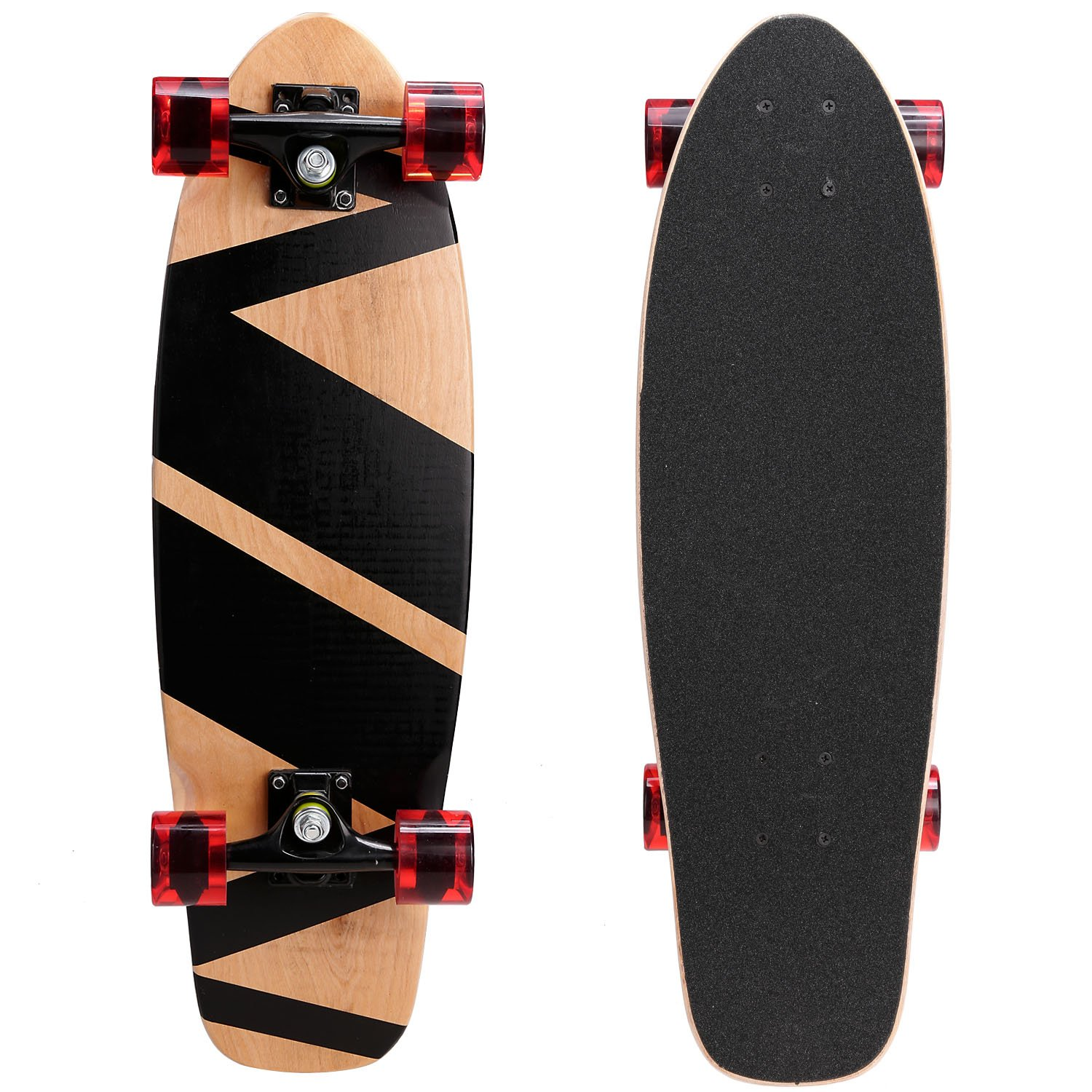 Lululy 27 Inches Cruiser Style Skateboard Complete Outdoors Fun Wooden Deck Skate for Beginners,Kids,Teens,Adults