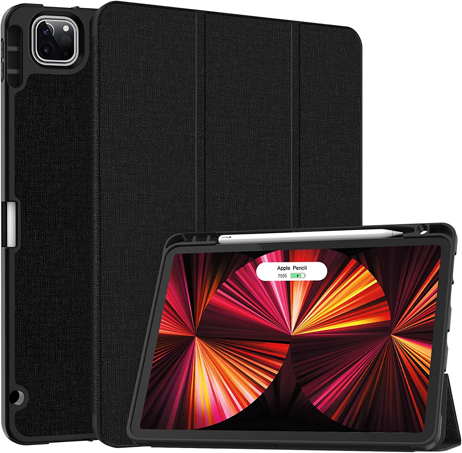 Soke New iPad Pro 11 Case 2021 with Pencil Holder - [Full Body Protection + 2nd Gen Apple Pencil Charging + Auto Wake/Sleep], Soft TPU Back Cover for 2021 iPad Pro 11 inch(Black)