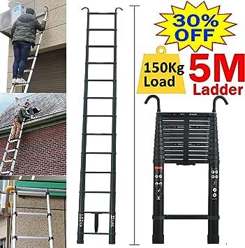 Escalera telescópica para desván con gancho desmontable - Escalera plegable de aluminio 150 kg máx. fácil de transportar EN131, seguridad 8 años de garantía: Amazon.es: Bricolaje y herramientas