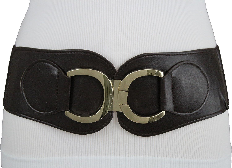 TFJ Women Fashion Elastic Belt High Waist Hip Plus Size L XL XXL Dark Brown