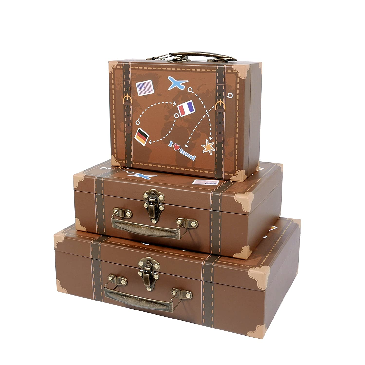 SLPR Paperboard Suitcases (Set of 3, Travel)   Decorative Boxes for Birthday Parties Wedding Decoration Displays Crafts Photo Shoots