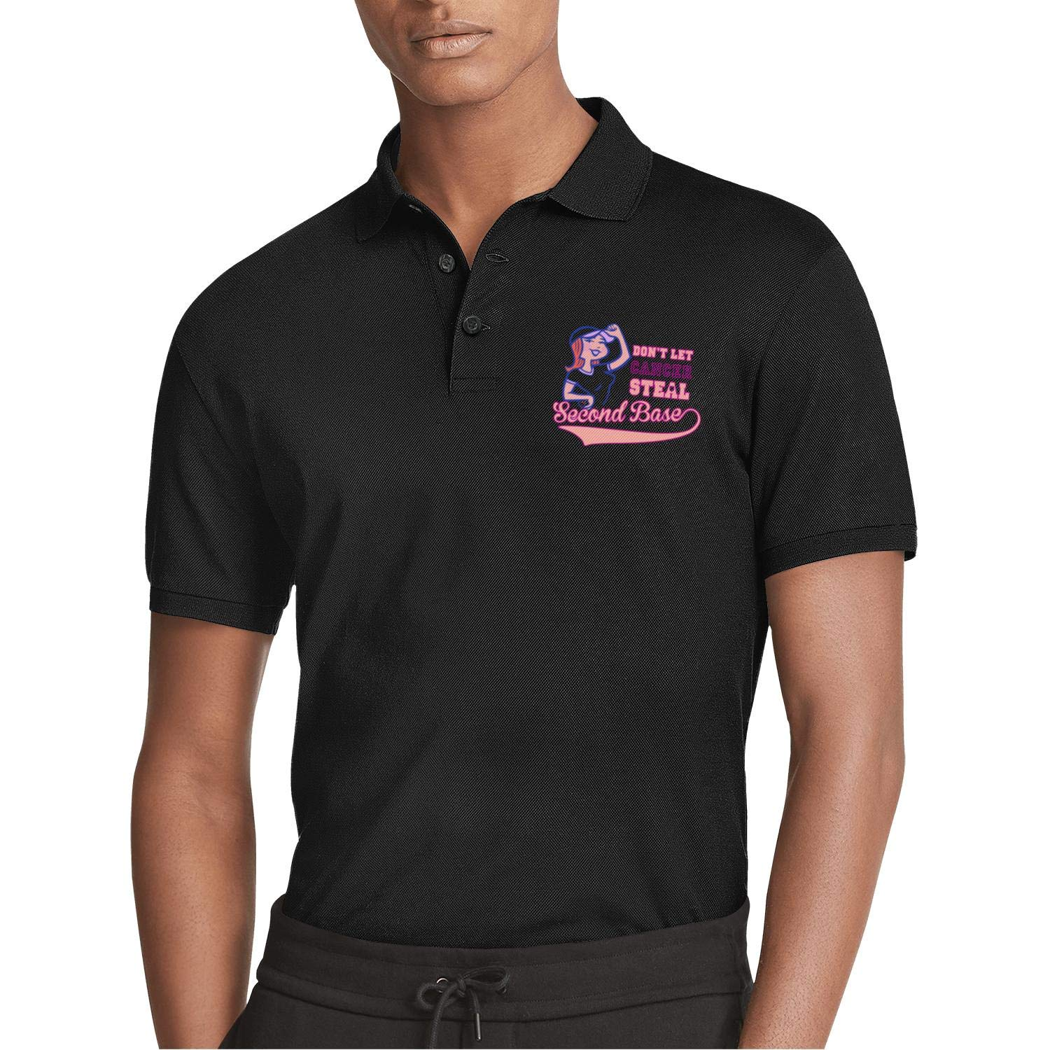 AIKYAN Dont Let Cancer Steal 2nd Base Printed Mens Polo Shirt Button Down Party Holiday Camp Beach