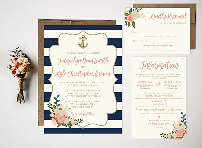 amazon com vintage floral nautical invites wedding invitation set