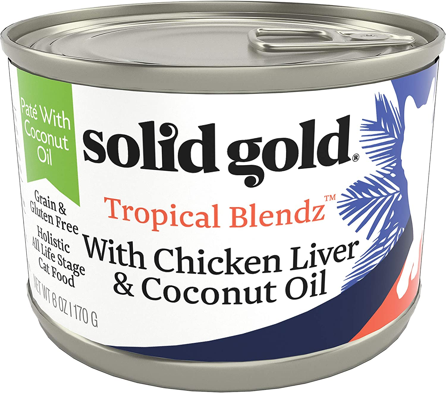 Solid Gold Tropical Blendz Pate with Coconut Oil - Grain-Free Wet Cat Food with Real Chicken Liver - 6oz (16 Count)