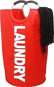 Amelitory Large Laundry Basket Foldable Waterproof Storage Hamper Round Organizer for Bathroom Bedroom Dorm Red