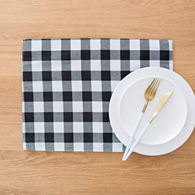 famibay Buffalo Plaid Place Mats, Black and White Placemats Set of 4 Farmhouse Placemats Checker Decorative Kitchen Table Mats Cotton Linen