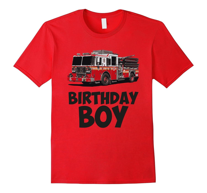 BIRTHDAY BOY FIREMAN FIRE TRUCK TSHIRT-TH