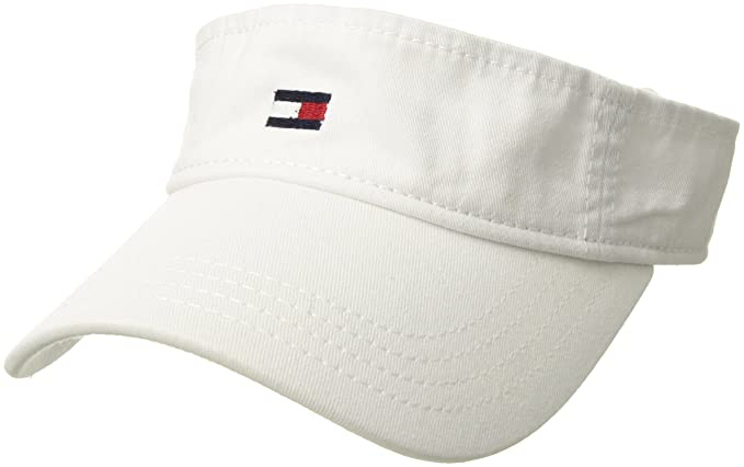 f9e40d4b Tommy Hilfiger Men's Dad Hat Flag Solid Cotton Visor Baseball Cap, Classic  White, One