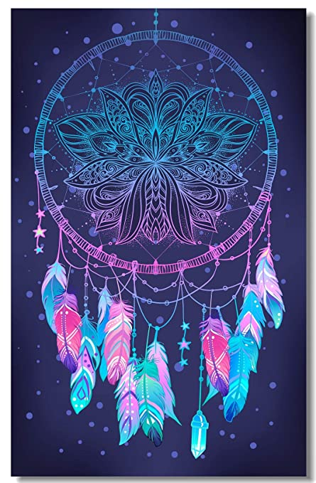 Poster Psychedelic Abstract Native American Indian Talisman Dream Catcher Bohemian Fabric Prints Wall 35 5x23 5inch 90x60cm 016