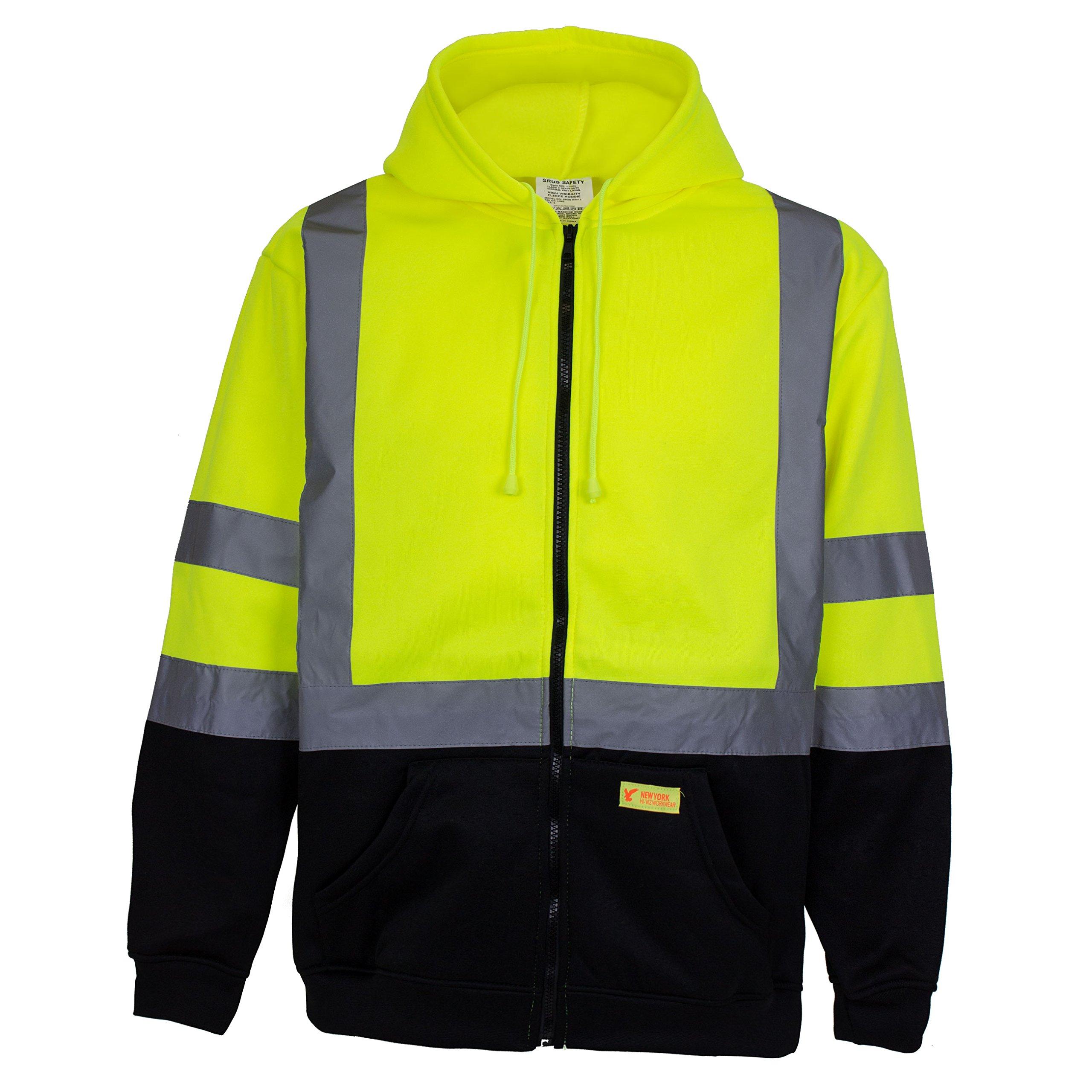 New York Hi-Viz Workwear H9012 Men's ANSI Class 3 High Visibility Class 3 Sweatshirt, Full Zip Hooded, Lightweight, Black Bottom (XX-Large) by New York Hi-Viz Workwear (Image #2)
