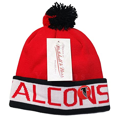 a6f0b557cf7665 Amazon.com : Mitchell and Ness NFL Atlanta Falcons 2 Tone Cuffed Knit Pom Beanie  Cap with Pin : Sports & Outdoors
