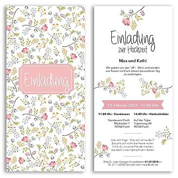 20 X Hochzeitseinladungskarten Blumen Pink Rosa Hochzeitskarten