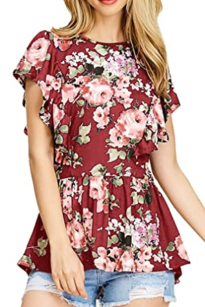 eac3d1c0121 NICIAS Women's Blouse Short Sleeve Floral Print T-Shirt Comfy Tunic Casual  Tops for Women