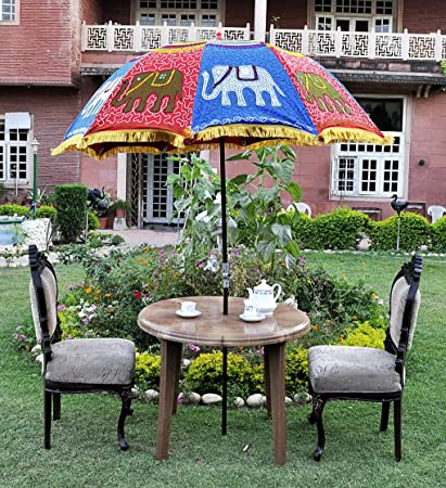 Lalhaveli Decorative Elephant Embroidery Work Design Garden Outdoor Umbrella 52 X 72 Inches