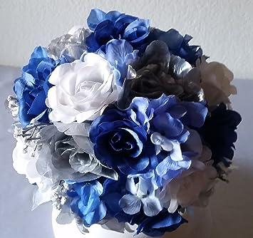 Amazon royal blue silver white bridal wedding bouquet royal blue silver white bridal wedding bouquet boutonniere mightylinksfo