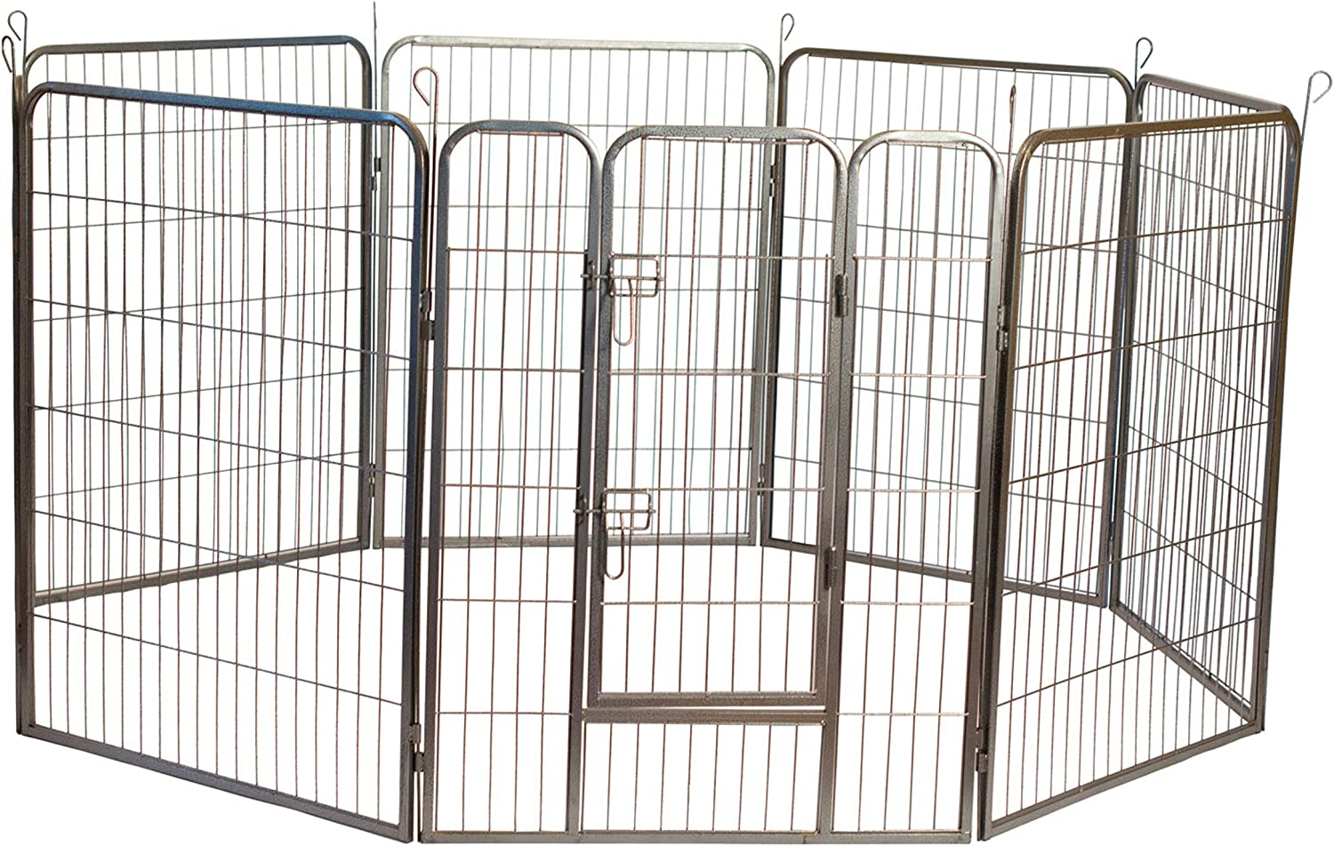 Iconic Pet Heavy Duty Metal Tube Pen Pet Dog Exercise and Training Playpen in Varying Sizes - Portable Exercise Puppy Cage with 8 Interlocking Metal Tube Panels, No Tools Required to Setup