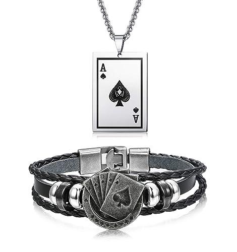 fe3ec8c78883 sailimue 2 Piezas Set Acero Inoxidable Poker Collar Cuero Pulsera Trenzada  para Hombres Mujeres Pulsera Punk Vintage  Amazon.es  Joyería