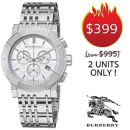 Burberry Trench BU2303 - Reloj cronógrafo de Acero Inoxidable con Correa de Acero Inoxidable y Esfera Blanca con Fecha de 42 mm para Hombre y Mujer: ...
