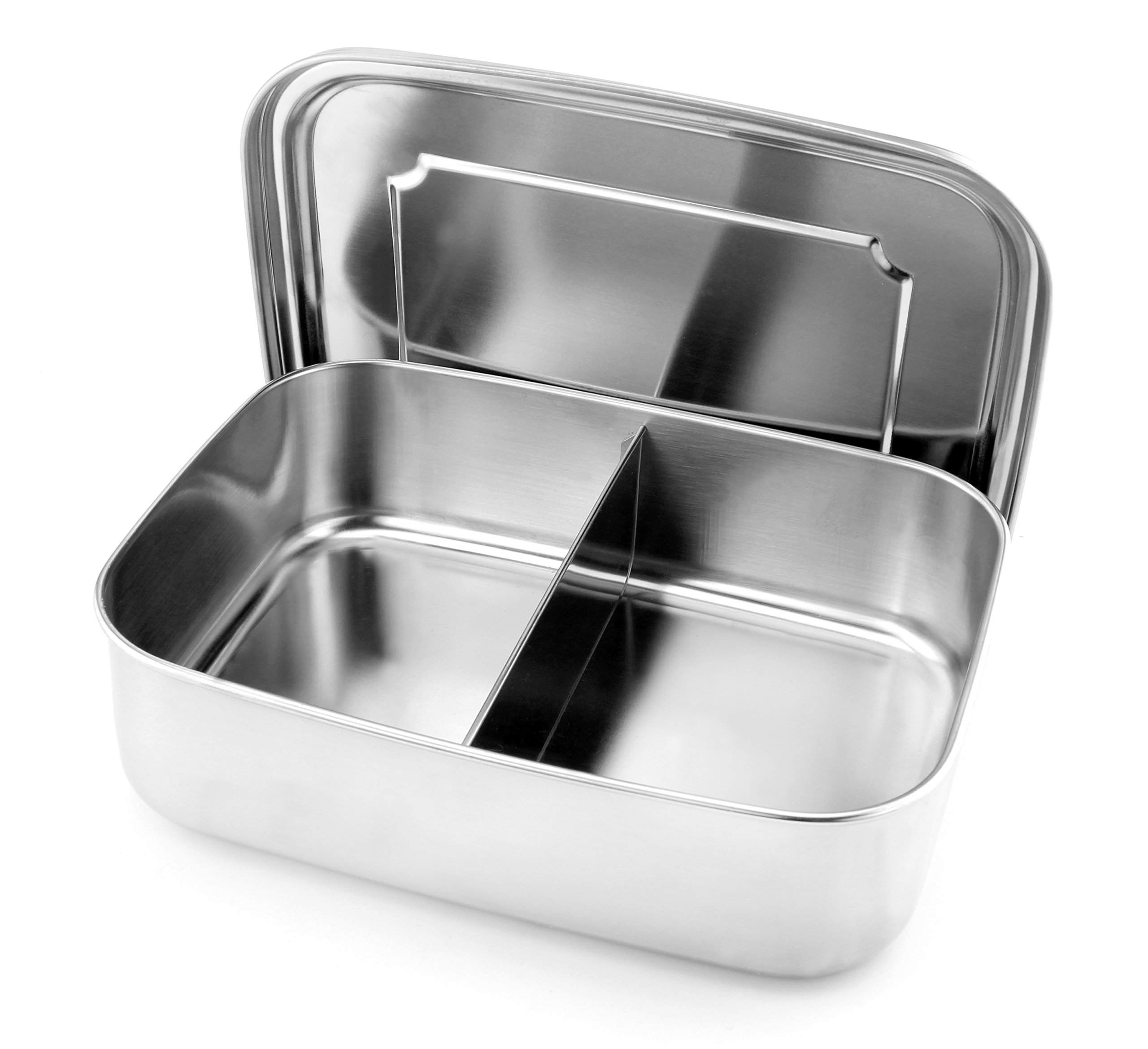 Stainless Steel Large 2-Compartment Bento Box, 9 x 7 x 2.75 Inches Lunch Box