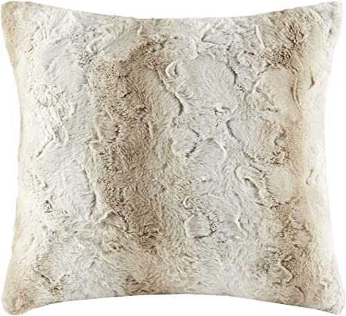 Madison Park Zuri Faux Fur Ombre Stripe Ultra Soft Luxury Decorative Throw Pillows For Couch Bed With Insert, 20×20, Sand