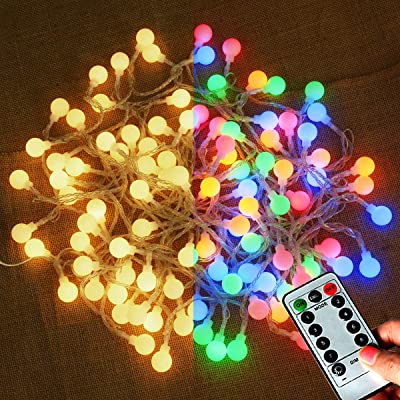 LAMPDREAM 100LEDs Globe String Lights Battery Operated, 8 Modes Warm White LED Globe Twinkle Fairy Lights with Remote for Kid Tent, Bedroom, Christmas Tree, Wedding Party : Garden & Outdoor
