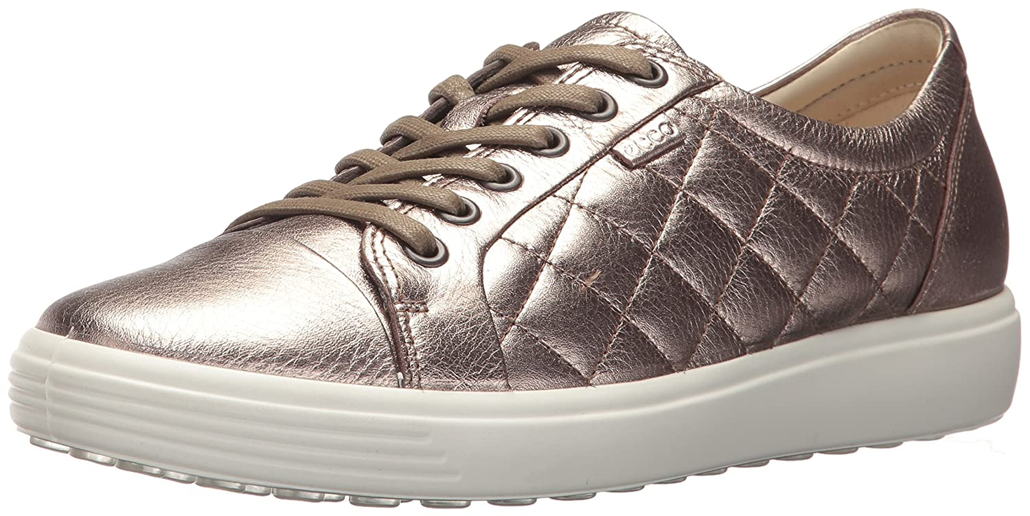ECCO Women's Women's Soft 7 Quilted Tie B01NBZ4HTH 38 EU / 7-7.5 US|Warm Grey/Metallic