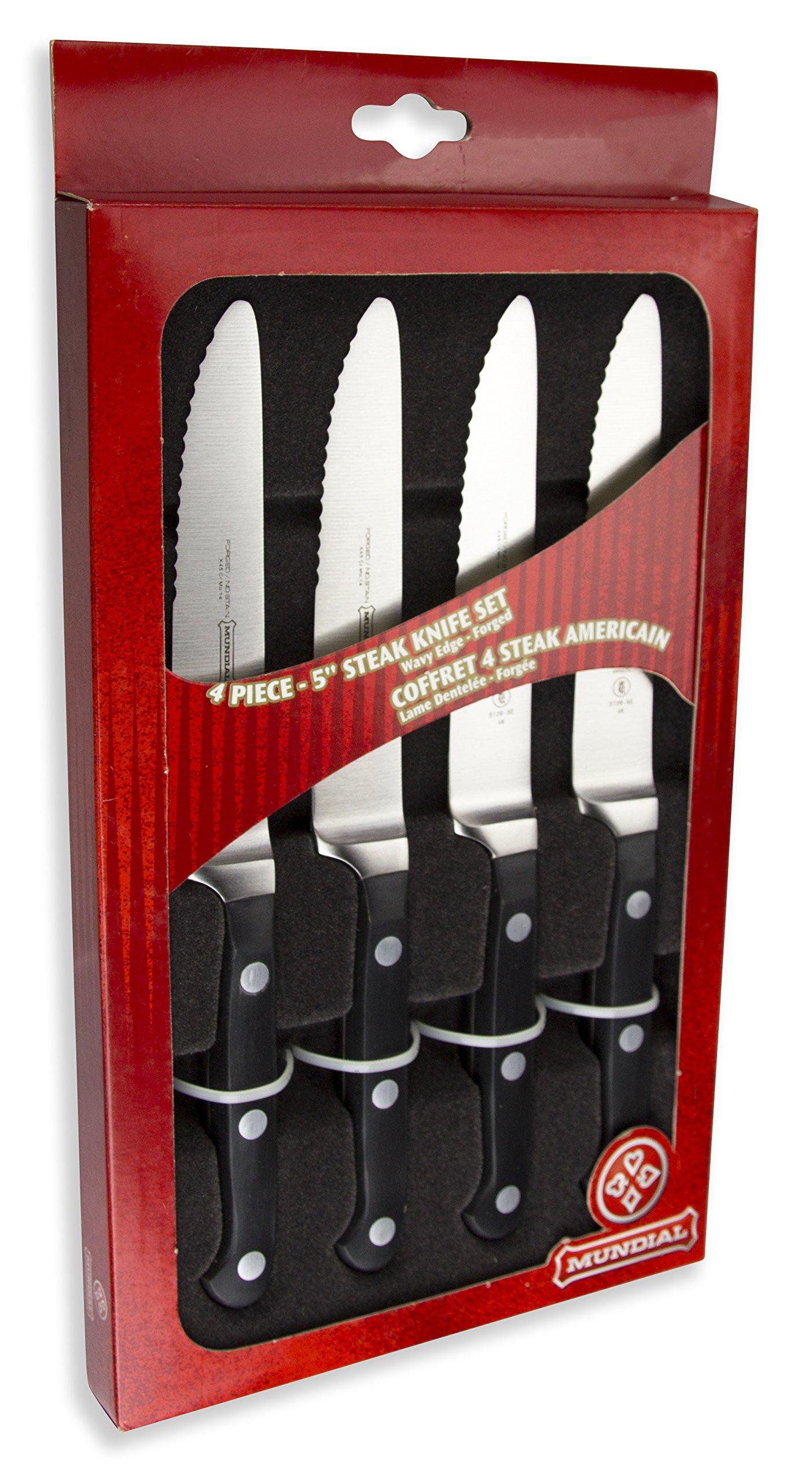 Mundial 5100 Series 4-Piece 5'' Serrated-Edge Steak Knife Set, Black