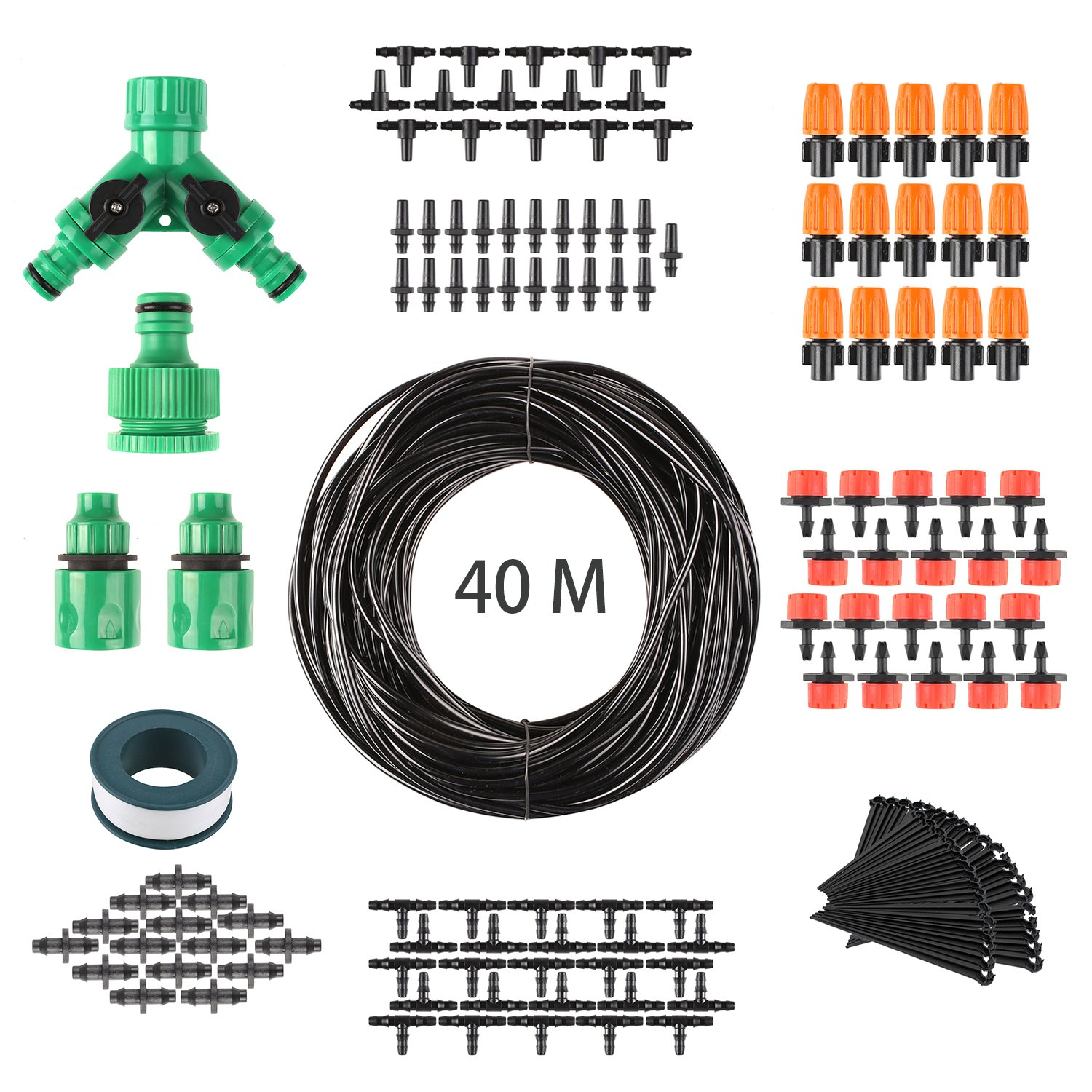 FIXKIT 40M Automatic Micro Drip Irrigation Kit, Irrigation System, Suitable for Garden Irrigation and DIY, with Automatic Sprinkler