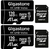 Gigastone Micro SD Card 128GB 2-Pack Micro SDXC U1 C10 High Speed Memory Card Class-10 UHS-I, Micro SD Card Reader (Type A Co