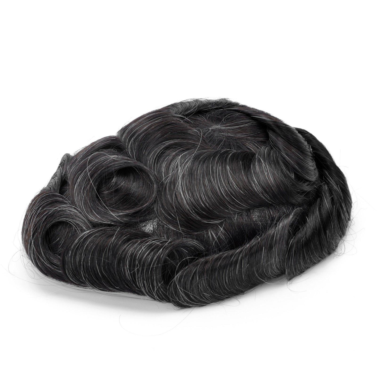GEX 63Colors Men's HairPiece Toupee Medium Density Wig Human Hair Replacement Systems Vivid Men's Toupee Bella Basement (1B10#)