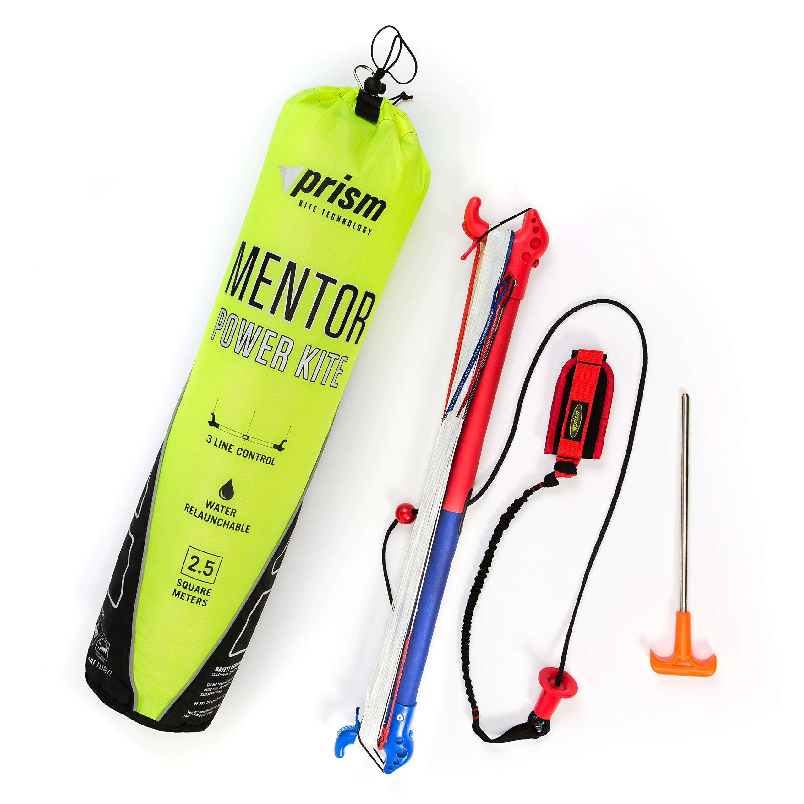 Prism Mentor 2.5m Water-relaunchable Three-line Power Kite Ready to Fly with Control bar, Ground Stake and Quick Release Safety Leash by Prism Kite Technology (Image #2)