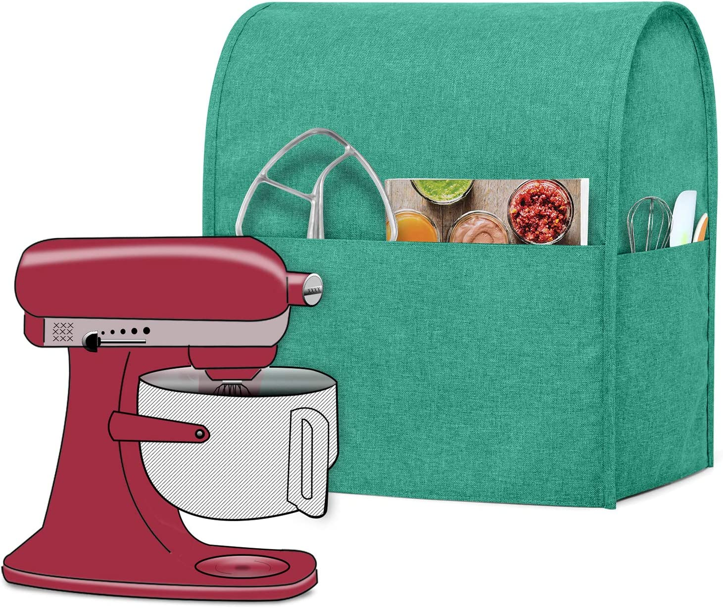 Luxja Dust Cover Compatible with 6-8 Quart KitchenAid Mixers, Cloth Cover with Pockets for KitchenAid Mixers and Extra Accessories (Compatible with All 6-8 Quart KitchenAid Mixers), Green