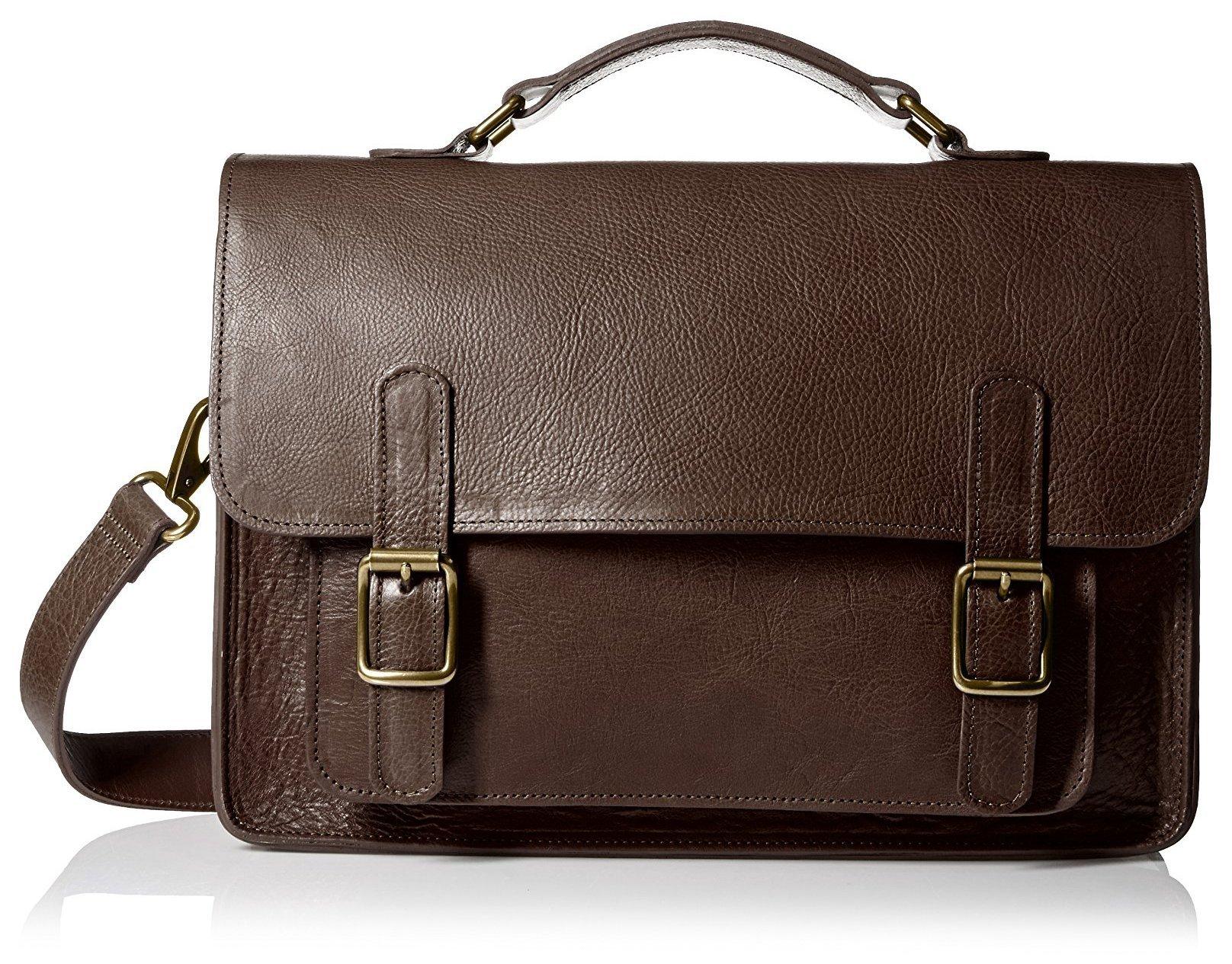 The British Belt Co. Men's Kingston Satchel, Chestnut Brown/Orange