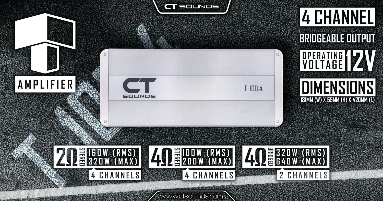 CT Sounds T-100.4 Class AB 4 Channel Car Amplifier