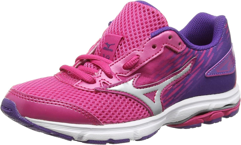 Mizuno Wave Rider 19 Jnr - Zapatillas de running para chicos, color púrpura (fuchsiapurple/silver/royalpurple), talla 36.5 EU: Amazon.es: Zapatos y complementos