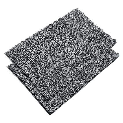 vdomus absorbent microfiber bath mat soft shaggy bathroom mats shower rugs grey - Bathroom Mats