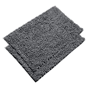 Amazoncom VDOMUS Absorbent Microfiber Bath Mat Soft Shaggy - Black chenille bath rug for bathroom decorating ideas