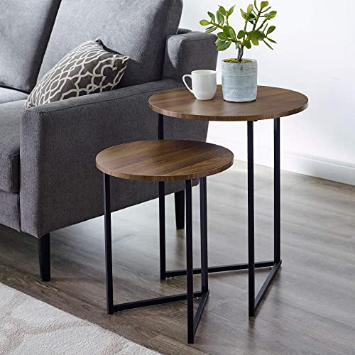 Walker Edison Furniture Company Modern Round Metal Base Nesting Set Side Accent Living Room Storage Small End Table