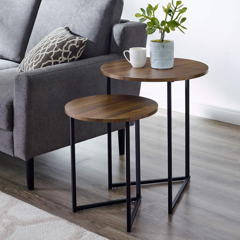 WE Furniture AZFVICNSTDW Side Table, Dark Walnut
