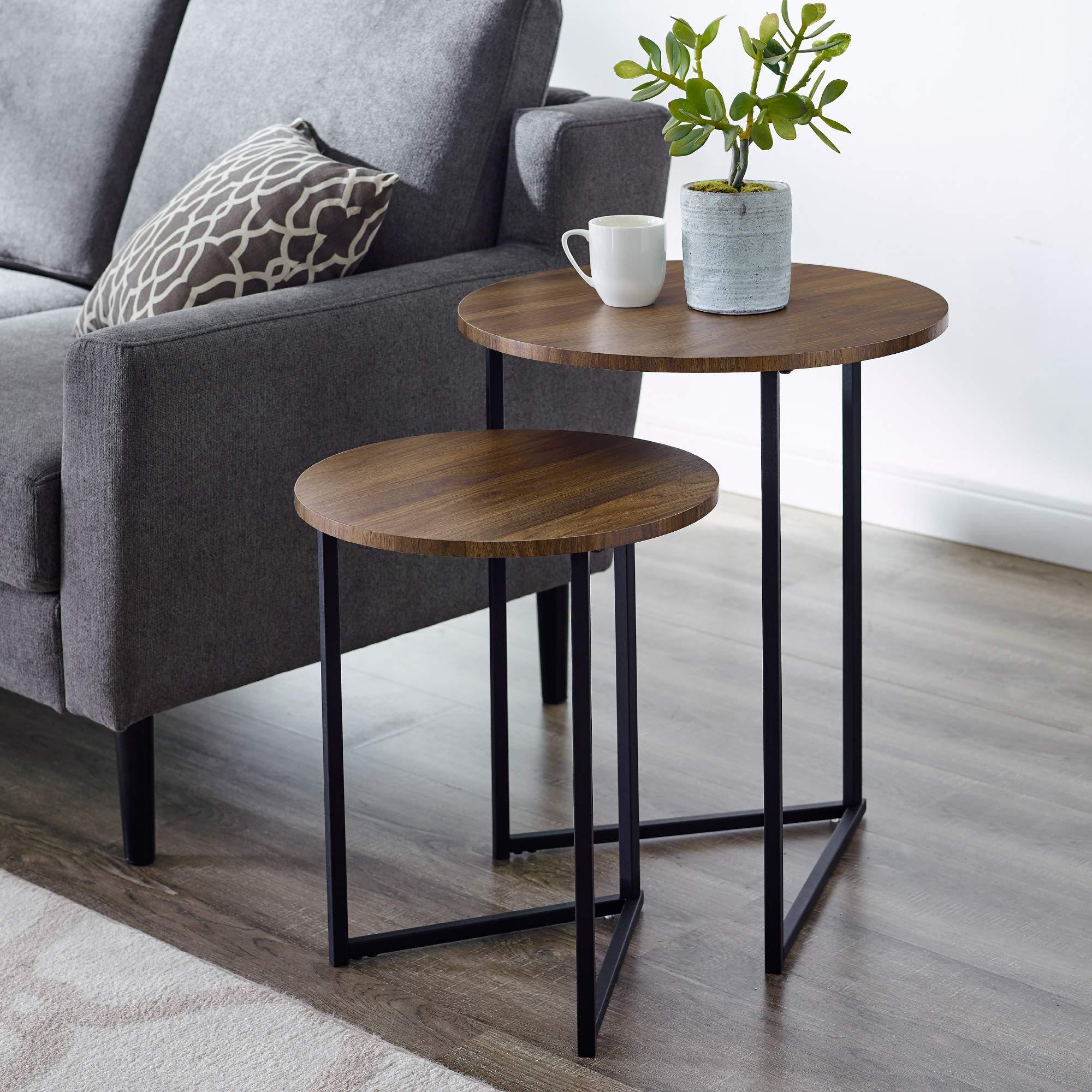 WE Furniture AZFVICNSTDW Side Table, Dark Walnut by WE Furniture